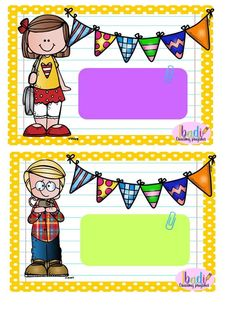 Menino e menina Classroom Labels, Classroom Jobs, Classroom Decor, Teacher Tools, Teacher Gifts, Notebook Labels, School Border, Boarder Designs, School Frame
