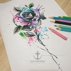 泼墨玫瑰花朵纹身手稿
