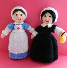 This is Clara - A WWI Red Cross Nurse & Florence Nightingale. They are 20cms tall. This knitting pattern is worked flat and would suit a Beginner. http://www.ravelry.com/patterns/library/wwi-red-cross-nurse--florence-nightingale-doll