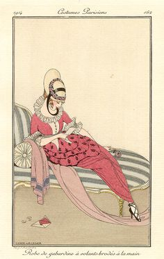 Reading in fashion. Robe de gabardine á volants brodés á la main(Gabardine dress with hand embroidered ruffles), pl. 162: from Journal des dames et des modes, no. 71, 1914.Gerda Wegener. Pochoir. The Journal was designed to appeal to the elite of Paris. It incorporated high fashion plates, an expensive layout, society columns, poetic texts, colourful annotations and fashion reports, using high quality paper and artwork.