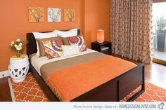 Bryce Canyon - BM - Hillside Sanctuary: Tangerine guest bedroom by Kimball Starr Interior Design - contemporary - bedroom - san francisco - Kimball Starr Interior Design Orange Rooms, Bedroom Orange, Orange Walls, Tangerine Bedroom, Orange Curtains, Coral Bedroom, Patterned Curtains, Fall Bedroom, Bedroom Color Combination
