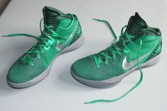 "NIKE basketball sneakers, size 11.5. They are ""Lucky Green"" Nike Zoom 2011 Hyperdunk Supreme shoes that were worn for indoor games only - never worn outdoors. They have metallic silver and cool gray detailing and green laces #Nike #Basketball"