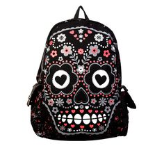 Carry all your goods with punk backpacks and novelty backpacks in a variety of unique styles. Inked Shop carries cool backpacks for women that will turn heads. Gothic Outfits, Emo Outfits, Rucksack Bag, Backpack Bags, Canvas Backpack, Candy Skulls, Sugar Skulls, Grunge, Candy Flowers