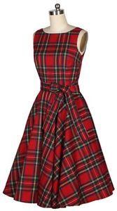RED-PLAID-TARTAN-Scottland-DRESS-rockabilly-swing-Vintage-80-039-s-1950s-50-039-s-pinup