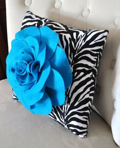 Accent+Pillow+Turquoise+Rose+on+Zebra+Print+Throw+by+bedbuggs,+$28.00