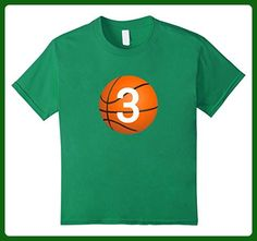 "Kids ""#3 Birthday Basketball"" BirthdayT Shirt 4 Kelly Green - Birthday shirts (*Amazon Partner-Link)"