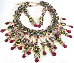DiMARTINO ORIGINALS Massive Watermelon Rhinestone Red Crystal Necklace Set