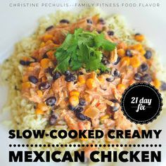 : 21 Day Fix Recipe: Slow-Cooker Creamy Mexican Chicken Family. : 21 Day Fix Recipe: Slow-Cooker Creamy Mexican Chicken 21 Day Fix Extreme, Clean Eating Recipes, Healthy Recipes, 21 Day Fix Diet, Mexican Chicken Recipes, Fiesta Chicken, Easy Crockpot Chicken, Chicken Cooker, Recipe 21
