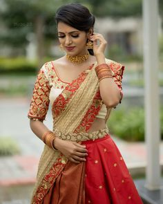 Days Of Graceful Fashion . I believe vintage old school glamour is to be preserved as a style lesson for all eras to come . Jewellery : bcos its silver. Pattu Saree Blouse Designs, Half Saree Designs, Lehenga Designs, Half Saree Lehenga, Saree Look, Sari, Lehenga Blouse, Stylish Dresses For Girls, Frocks For Girls