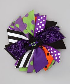 Take a look at this Purple Witch Hat Spikey Bow Clip by Zazzy Zebra on #zulily today!