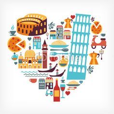 Vecteur : Italy love - heart shape with vector icons