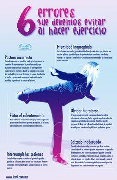 6 errores que debemos evitar al hacer ejercicio. #deporte #salud #infografía