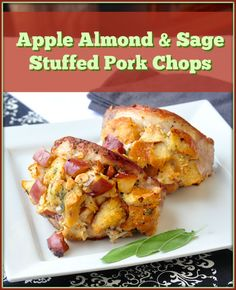 Delicious succulent stuffed pork chops with an old fashioned baked cornbread stuffing that has the added deliciousness of fresh thyme, pecans and apples.