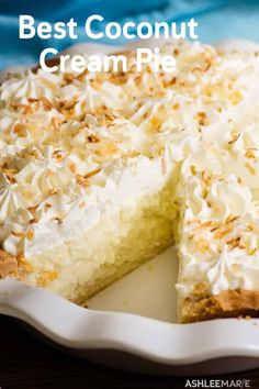 Coconut cream pie ashlee marie real fun with real food the best chicken pot pie ever Easy Pie Recipes, Cream Pie Recipes, Pie Crust Recipes, Coconut Recipes, Real Food Recipes, Cooking Recipes, Coconut Pie Recipe Easy, Coconut Desserts, Sugar Cream Pie Recipe
