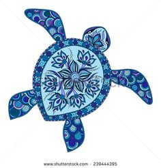 Decorative graphic turtle, tattoo style, tribal totem animal, vector illustration, isolated elements, lace pattern, Indian mehendi style - stock vector
