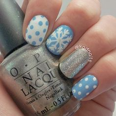 """Instagram media by kadnails - Weird lighting and worn-out mani but i don't care because I'm probably having the worst night of my existence right now.  Colors used: China Glaze """"Bahamian Blue""""  Opi """"Your Royal Shine-Ness"""" Sinful Colors """"White On White"""" Acrylic paint {Inspired By @diy_nail_design}"""