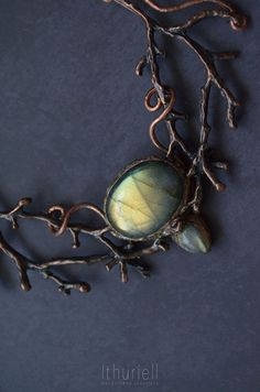 Faerie lights labradorite necklace copper branches by Ithuriell