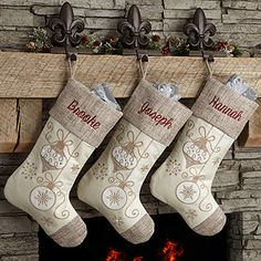 Make your home more festive this Christmas with the Elegant Charm Personalized Christmas Stocking. Find the best personalized Christmas gifts at PersonalizationMall.com