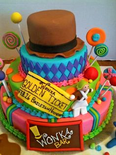Willy Wonka cake, this is for my next kid's birthday party!!
