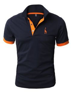 H2H Mens Fine Cotton Giraffe Polo Shirts of Various Colors NAVY US M/Asia XL (JDSK36)