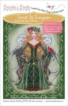 Spirit of Evergreen cross stitch by Brooke's Books Publishing, uses Kreinik threads, from store Stitching Bits and Bobs