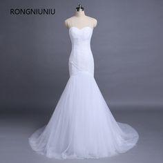 1b78a4e5e9bdf Simple Pleats Sexy Elgant Custom Made Sweetheart Wedding Dress Memaid Tulle  Floor-Length Lace Up