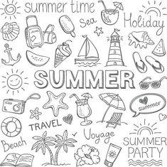 Summer Illustration Stock Vectors, Clipart and Illustrations , Doodle Drawings, Doodle Art, Pencil Drawings, Doodle Pages, Pencil Sketching, Bujo Doodles, Planner Doodles, Free Doodles, Notebook Doodles