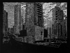 Matriz Perdida Invertida, série de 8 xilogravuras, 52 x 60 cm, 2010. Tales Bedeschi.