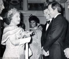 Andy Williams meets the Queen Mother along with singers Max Bygraves and Dionne Warwick at the Royal Variety Show in London in 1970