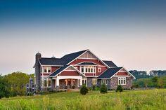 Craftsman Green Home - craftsman - Exterior - Philadelphia - homes Home Improvement Blogs, Home Improvement Companies, Brick House Colors, House Color Schemes, Custom Home Designs, Custom Homes, Exterior Paint Design Ideas, Craftsman Exterior, House Siding