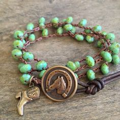 """Lucky Horseshoe Knotted Crochet Multi Wrap Bracelet, Necklace """"Country Chic"""""""