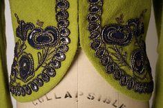 Elsa Schiaparelli embroidered jacket 1938 made of wool, silk, metallic thread and sequins. Couture Embroidery, Beaded Embroidery, Embroidery Designs, Elsa Schiaparelli, 1930s Fashion, Vintage Fashion, High Fashion, Women's Fashion, Jacket Images