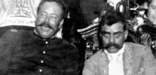 Pancho Villa on left and Emiliano Zapata on right, 1914, ck