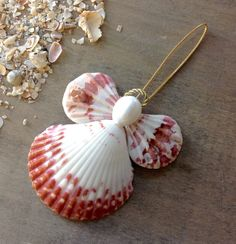 This Adorable Calico Seashell Angel is handmade here at Sea Things. This Angel is calico pink in color. All shells are natural in color. She is really very pre
