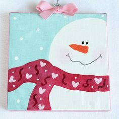 Valentine Snowman Canvas Sign by bristlesprout on Etsy Christmas Trees For Kids, Christmas Tree Painting, Christmas Canvas, Winter Painting, Holiday Crafts For Kids, Painting For Kids, Christmas Art, Holiday Ideas, Painted Closet
