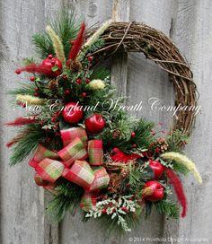 Christmas Wreath, Holiday Wreath, New England Holiday, Winter Wreath, Designer Christmas, Woodland Wreath