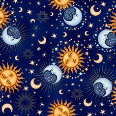 Celestial fabric moon sun stars zodiac calender shiny by for Sun moon fabric
