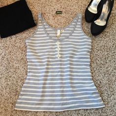 Anthro Eloise Tank w/Button Detail - Adorable! EUC!! Really adorable Eloise tank with gray/blue and raised white stripes. Love the button detail in the front! This would look great in the summer or layered over a white button down with some skinny jeans and ankle boots for the winter! Very soft, like new! Looks like the tag says L...I'd say it's more of a fitted M or a looser S. Anthropologie Tops Tank Tops
