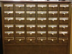 Repurposed card catalog! At the Lawrenceville (NJ) High School Library Media Center.