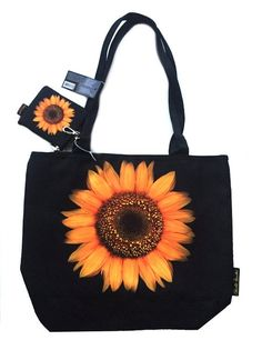 Black and Yellow Sunflower Harold Feinstein Tote Bag / Handbag and Coin Purse Sunflower Dress, Yellow Sunflower, Sunflower Clothing, Cute Laptop Bags, Cute Bags, Sunflower Accessories, Side Purses, Really Cute Outfits, Mother Gifts