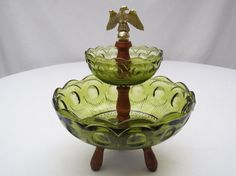 Mid Century Vintage Two Tier Green Glass by 1littletreasureshop, $30.00