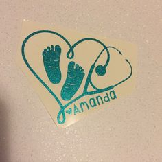 Personalized Pediatric Nurse Decal with baby feet and name | NICU Nurse Decal | Yeti RTIC Decal | Car Decal by FinFranDesigns on Etsy (null)