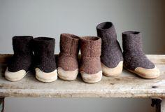 handmade wool + leather slipper socks for babies