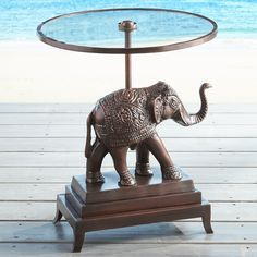 Genial Elephant Accent Table Brown
