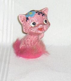 Pretty Little Pink Vintage Cat Kitten Figurine with Original Label