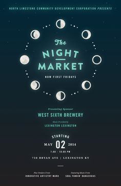 The Night Market //poster, layout, graphic, typography Web Design, Email Design, Flyer Design, Layout Design, Branding Design, Moon Design, Event Poster Design, Poster Designs, Dm Poster
