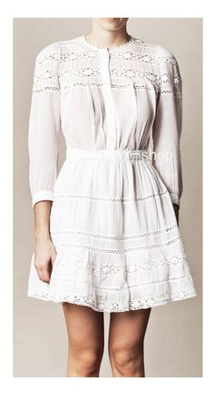 pure white eyelet dress by vishop