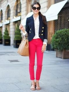 Coral and military blazer