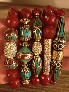 5 Bracelet stack with Large Agate stone and Tibetan vintage beads and thunder crystal accents