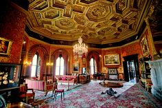 The Drawing Room at Alnwick Castle in Alnwick, Northumberland, England. Alnwick is the seat of the Duke of Northumberland, built following the Norman conquest, though molded through the years into its current state until 1865. The Domenico Cucci cabinets on either side of the fireplace in The Drawing Room [barely visible here] were made for Louis XIV, and purchased in 1822 by the acquisitive 3rd Duke